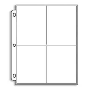 4 Pockets Post Card Page - Holds 3-1/2 x 5-1/4 (100)