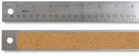 Ruler 36 inch Steel Flex Cork Back